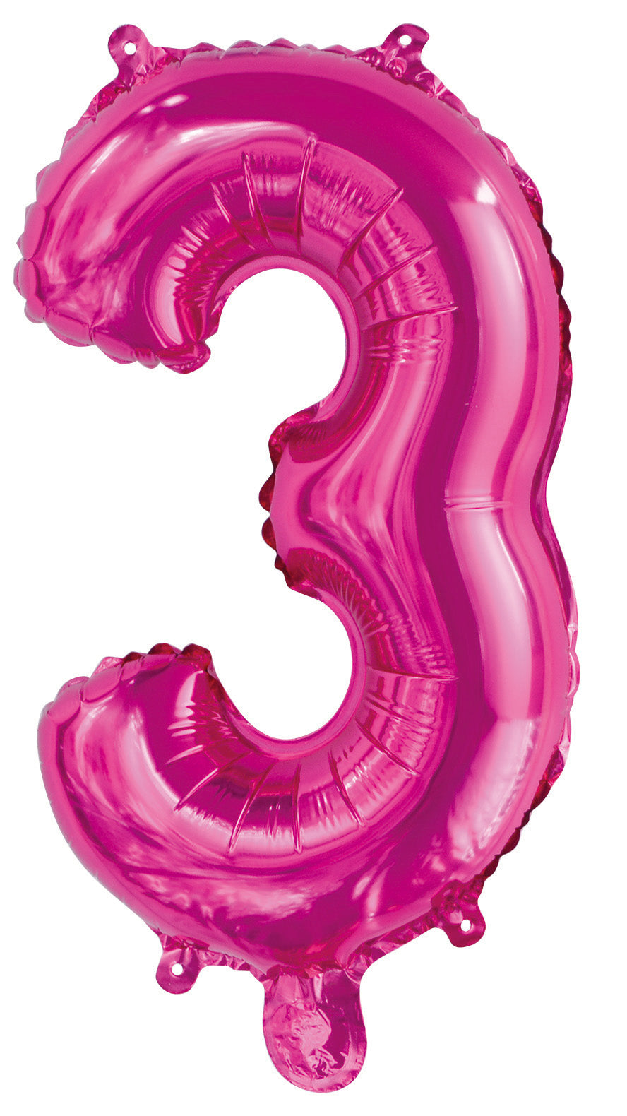 Number 3 Bright Pink Foil Balloon 35cm
