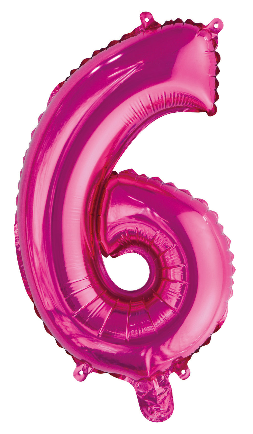 Number 6 Bright Pink Foil Balloon 35cm