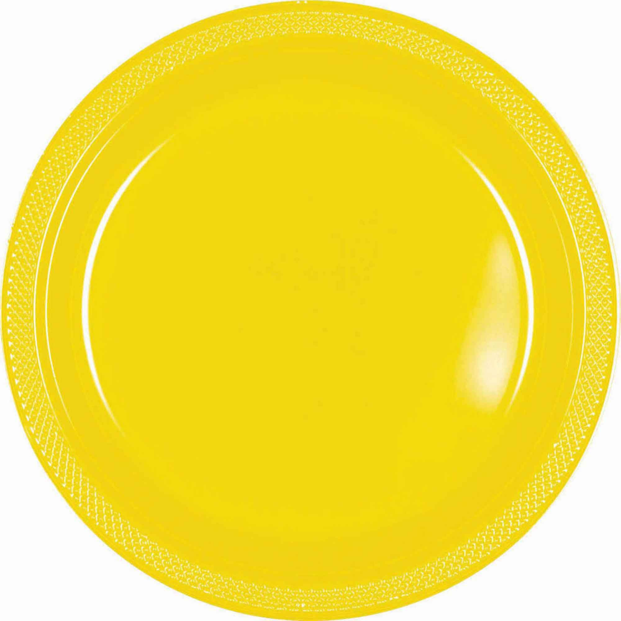 Yellow Plastic Snack Plates 18cm 20pk - Party Savers