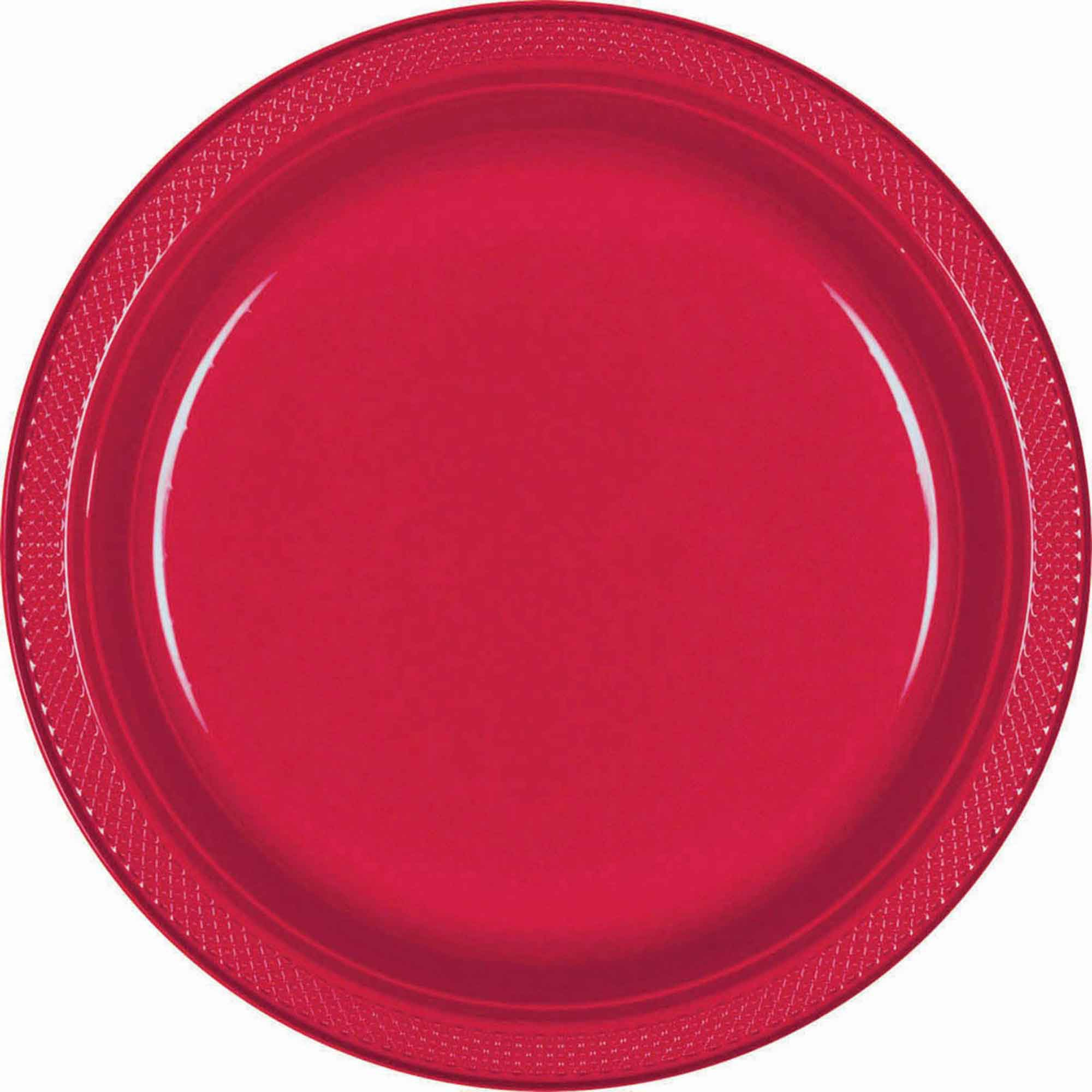 Red Plastic Snack Plates 18cm 20pk - Party Savers