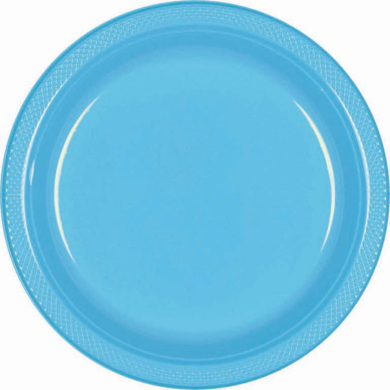 Green Plastic Snack Plates 18cm 20pk - Party Savers