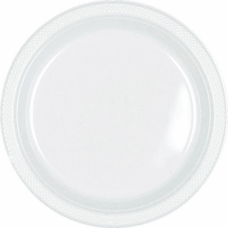 White Plastic Lunch Plates 23cm 20pk - Party Savers