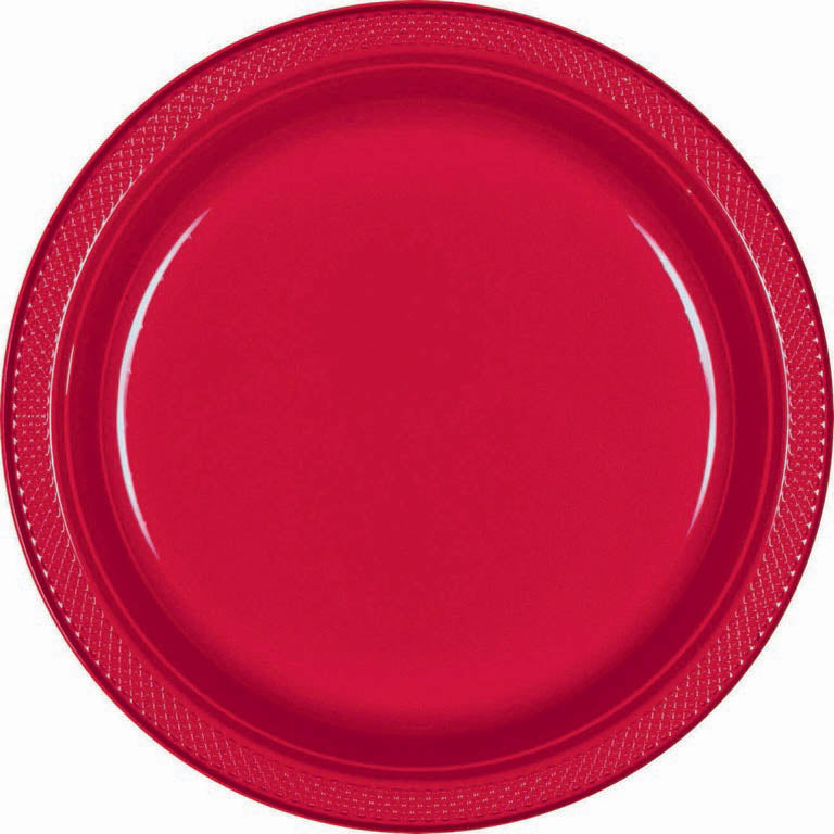 Red Plastic Lunch Plates 23cm 20pk - Party Savers
