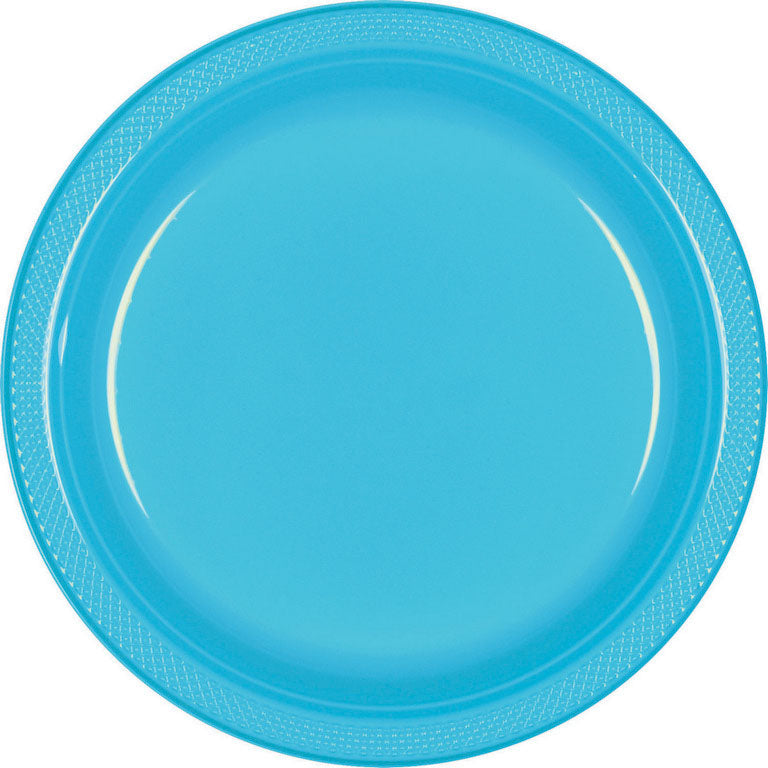 Caribbean Blue Plastic Banquet Plates 26cm 20pk - Party Savers