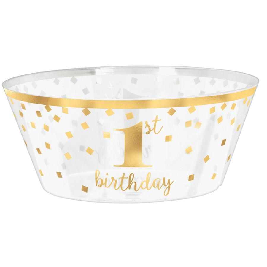1st Birthday Hot-Stamped Large Plastic Serving Bowl - Party Savers
