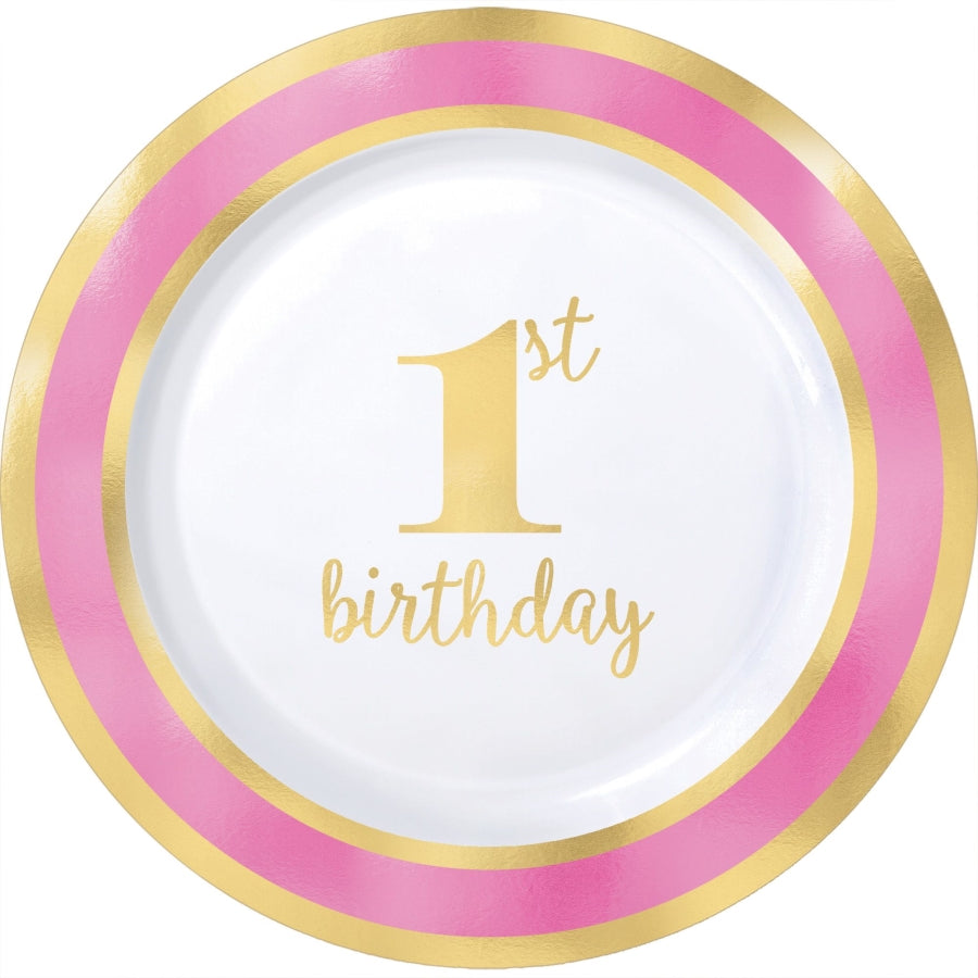 1st Birthday Pink Plates Hot Stamped 19cm 10pk