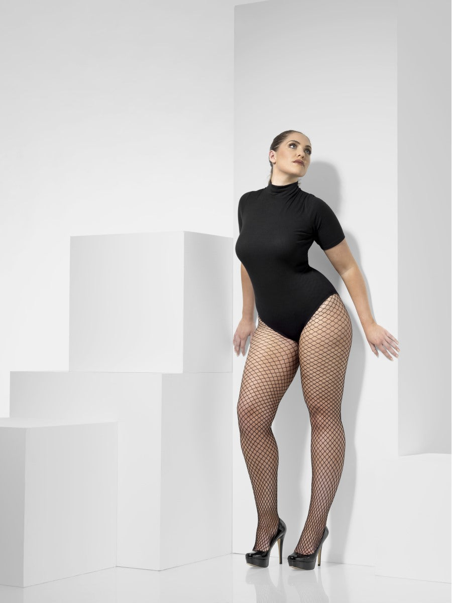 Black Extra Large Lattice Net Tights - Party Savers