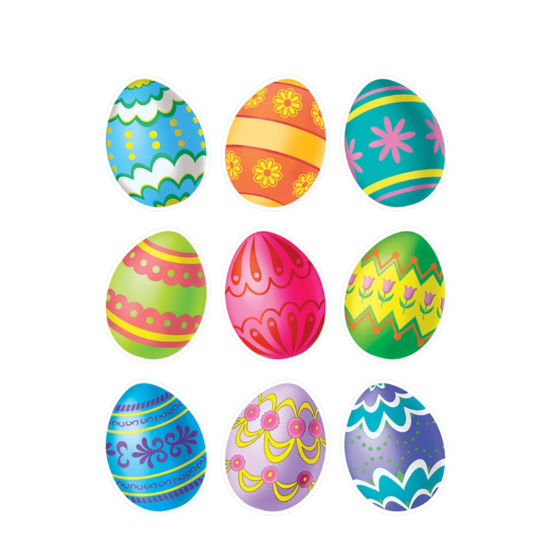 Easter Egg Clings 12in x 17in Sheet 9pk - Party Savers