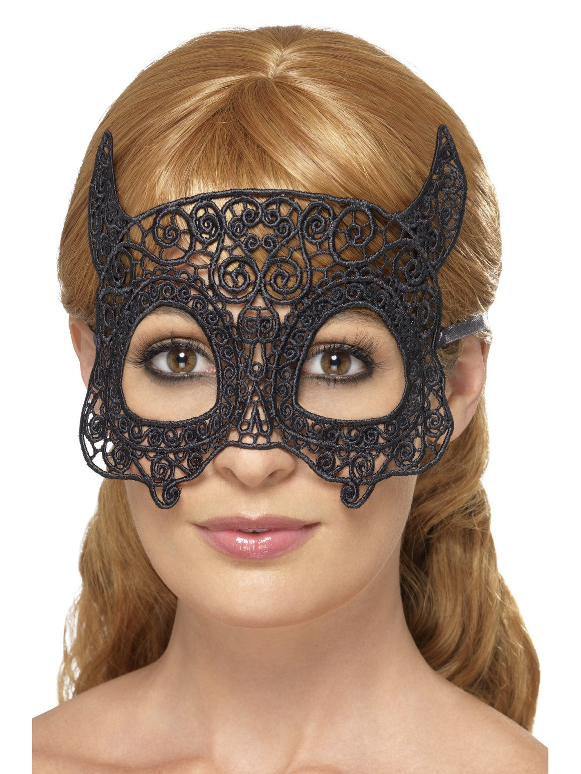 Black Embroidered Lace Filigree Devil Eyemask - Party Savers