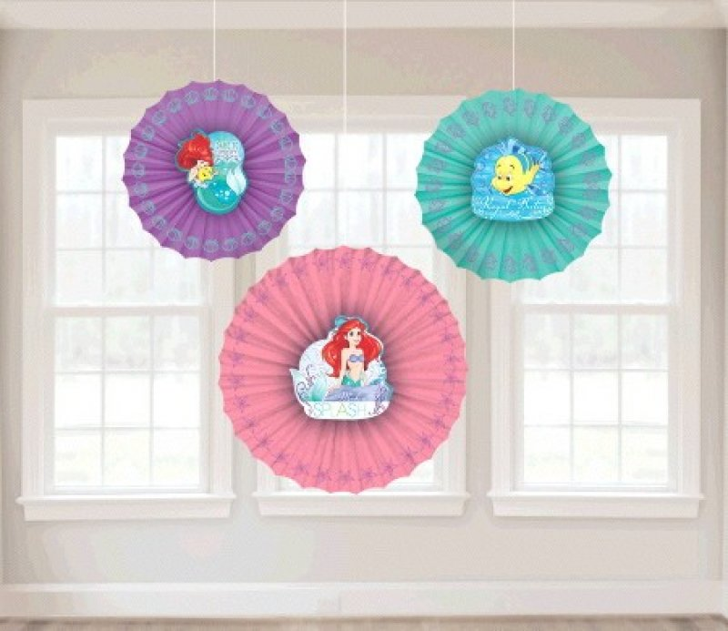 Ariel Dream Big Fan Decoration 3pk - Party Savers