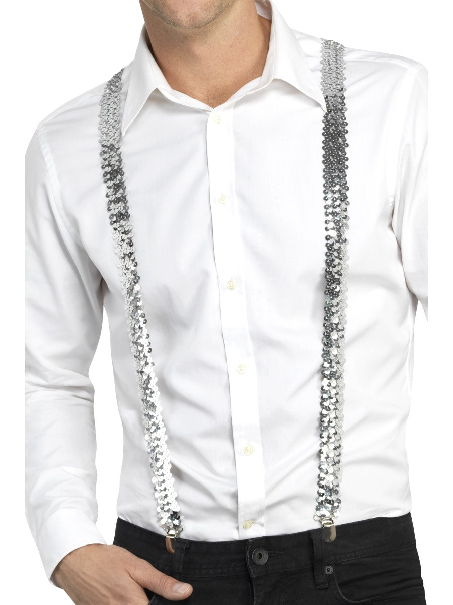 Silver Sequin Braces - Party Savers