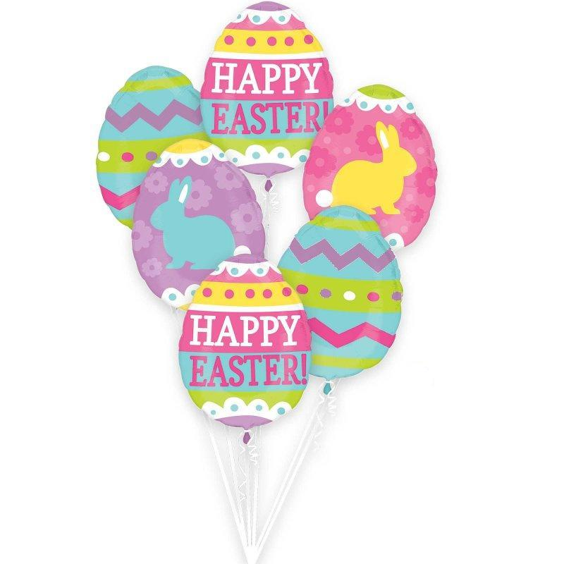 Easter Egg Hunt Balloon Bouquet 5pk - Party Savers