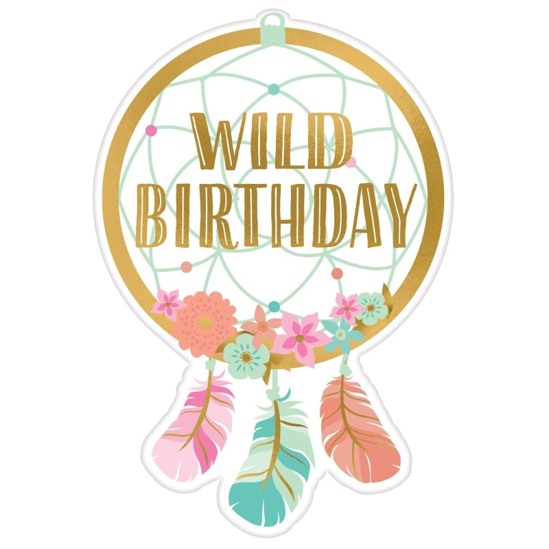 Boho Birthday Girl Postcard Invitations 8pk