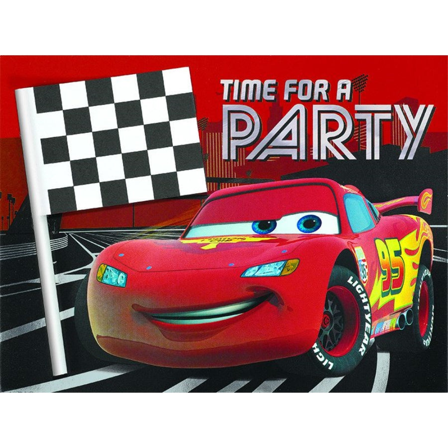 Cars 3 Deluxe Jumbo Invitations 8pk - Party Savers