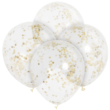 Clear Balloons With Gold Confetti 30cm 6pk