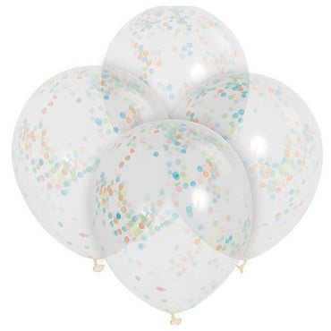 Clear Balloons With Multi Confetti 30cm 6pk