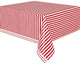 Red Stripes Plastic Rectangle Tablecover 137cm x 274cm - Party Savers