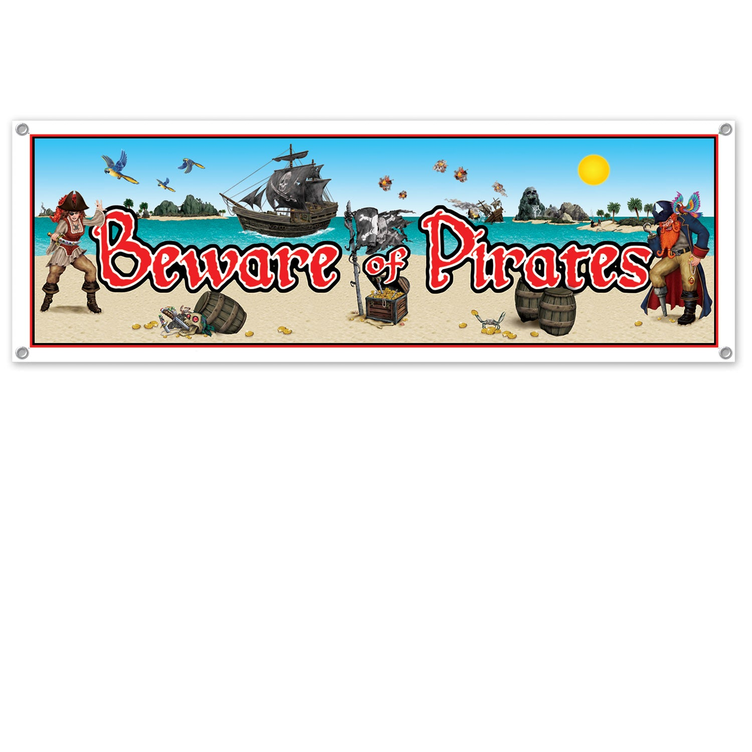 Beware Of Pirates Sign Banner 152cm long x 53cm
