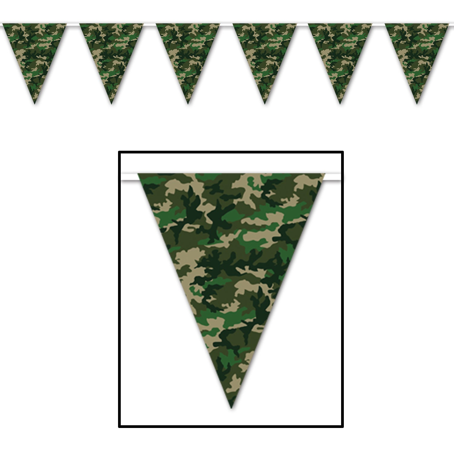 Camo Pennant Banner 28cm x 3.65m - Party Savers