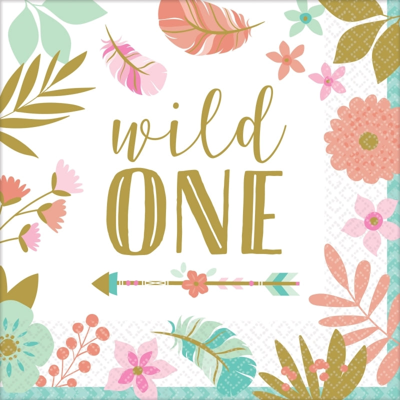 Boho Birthday Girl Lunch Napkins - Wild One 16pk - Party Savers