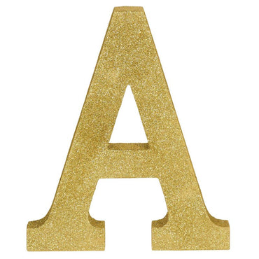 Letter A Gold Glittered Decoration MDF