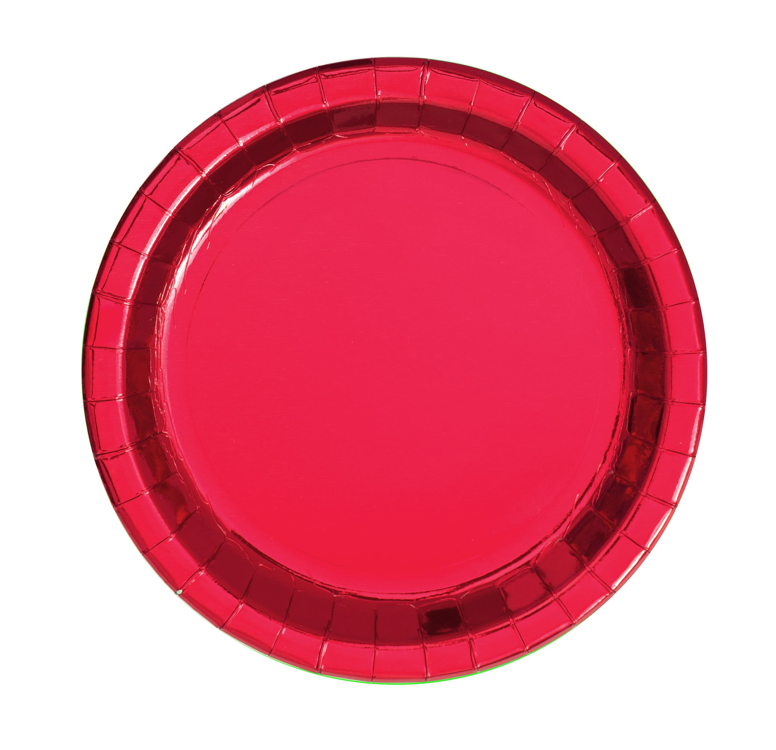 Red Foil Round Plates 18cm 8pk