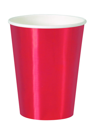 Red Foil Paper Cups 355ml 8pk