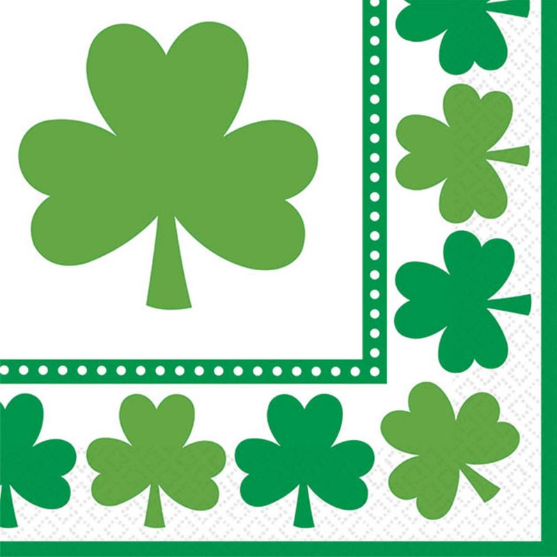 Lucky Shamrocks Beverage Napkins 16pk
