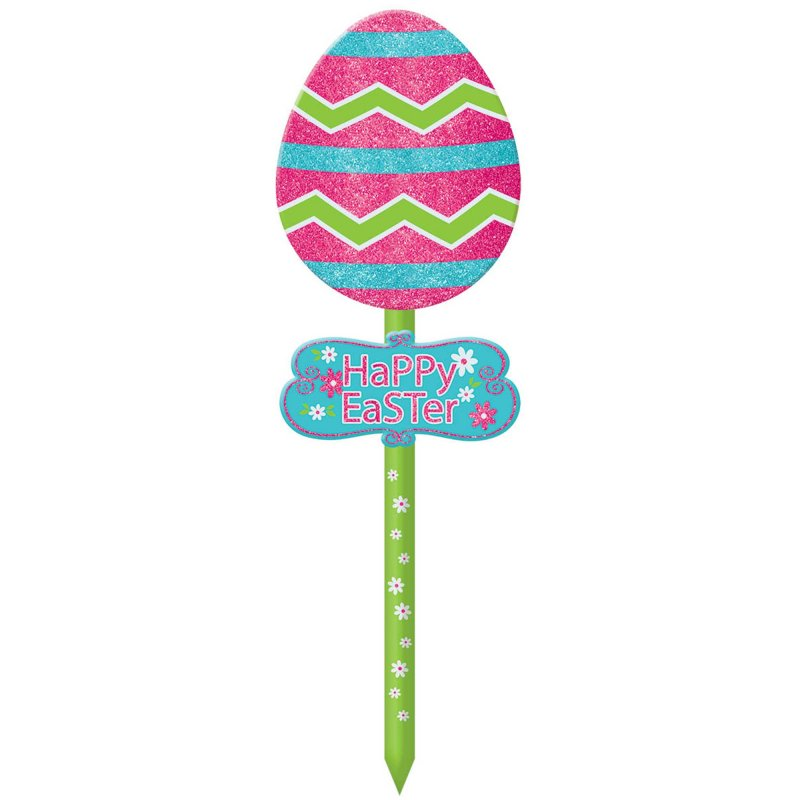 Easter Egg Lawn Sign With Glitters - Party Savers