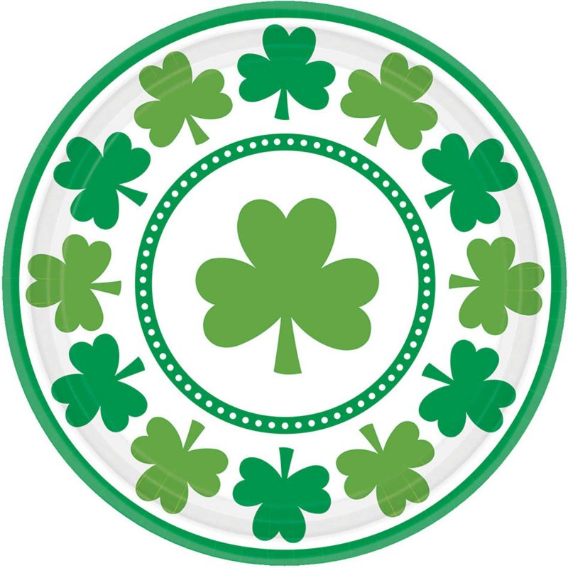 Lucky Shamrocks Round Plate 18cm 8pk - Party Savers