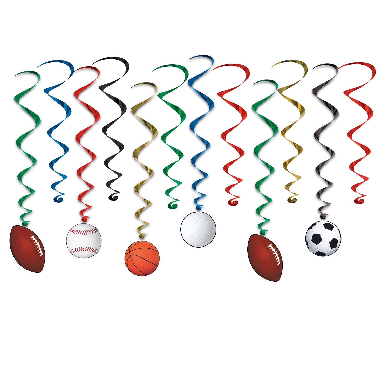 Sports Whirls 44cm-81cm 12pk - Party Savers