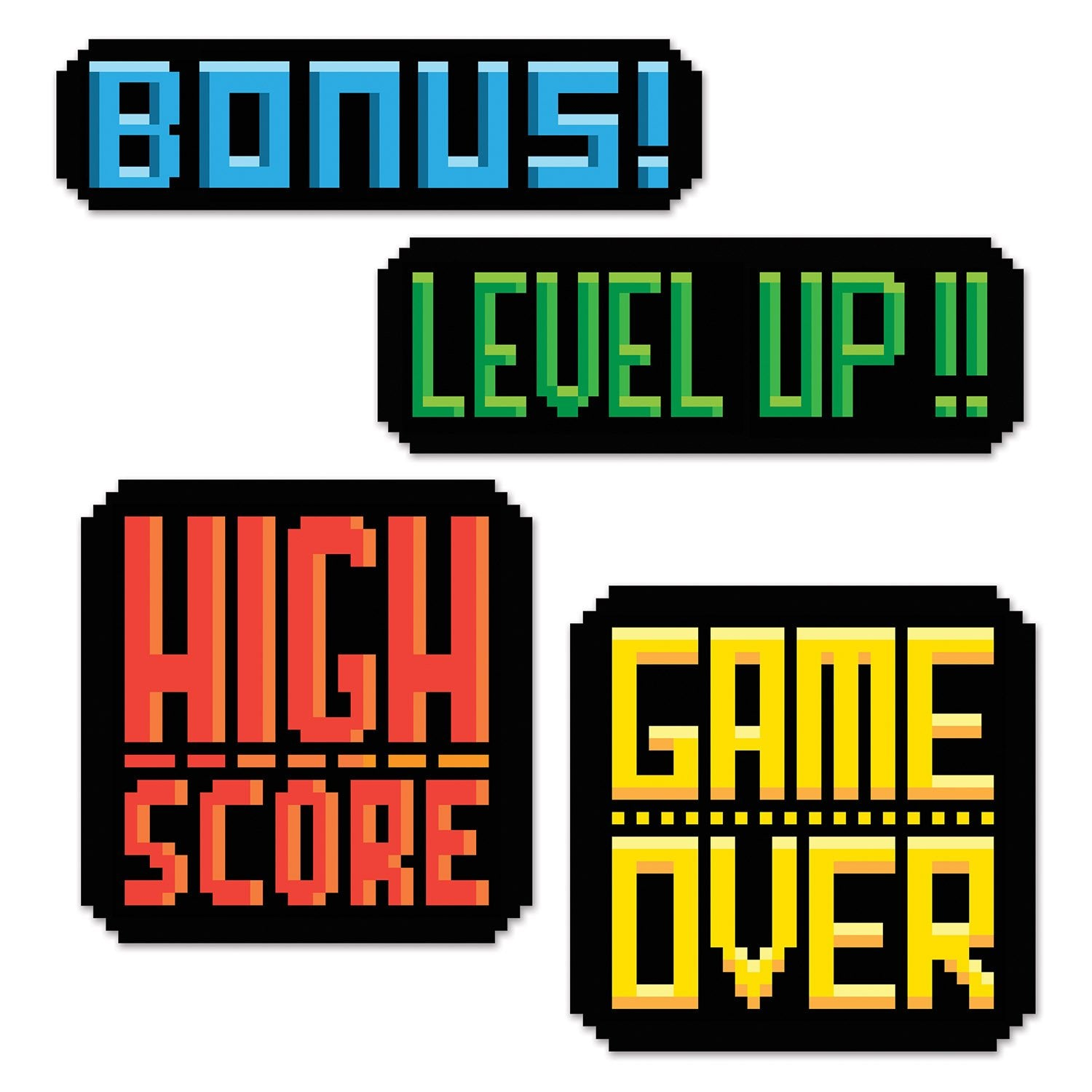8-Bit Action Sign Cutouts 4pk