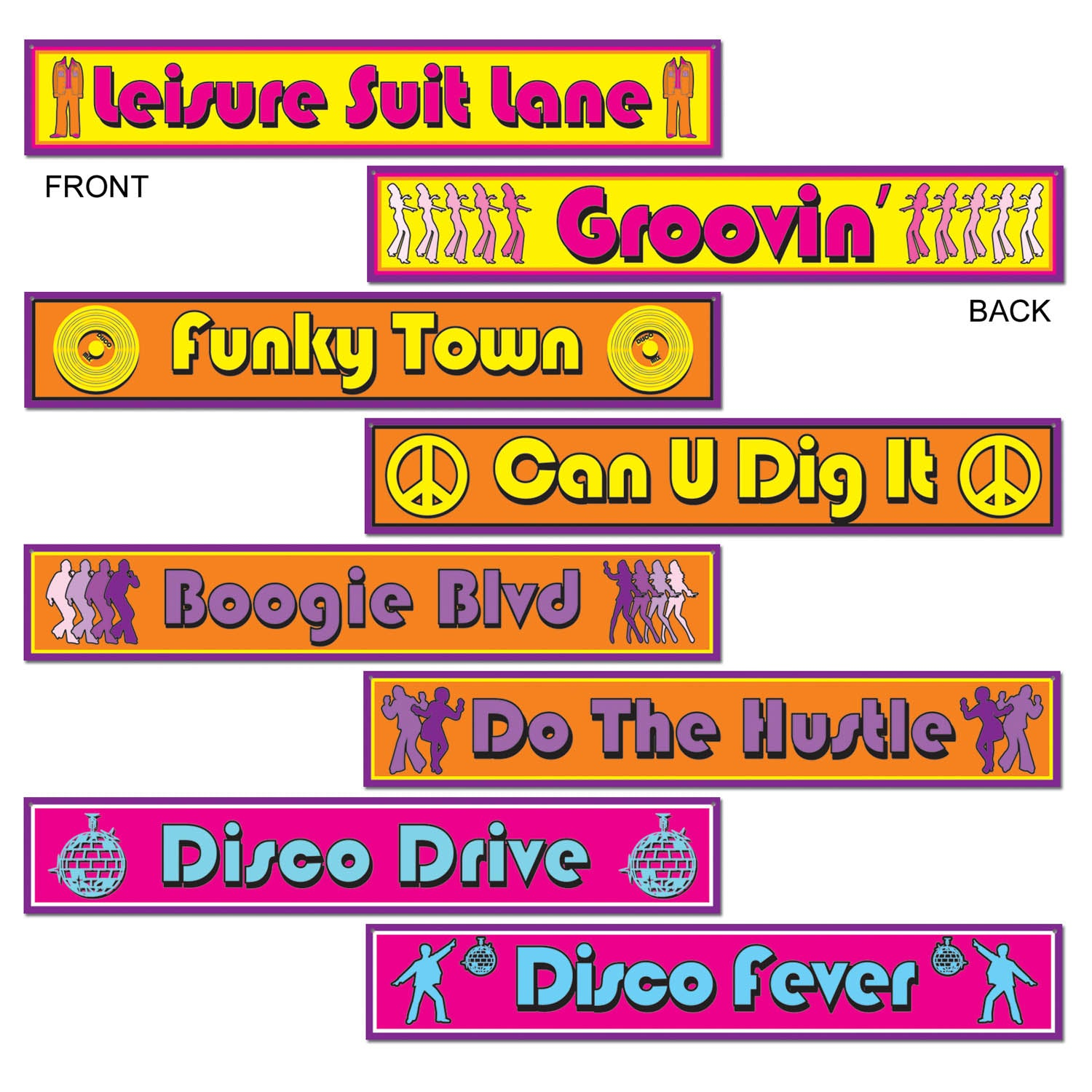 Disco Street Sign Cardboard Cutouts 10cm x61cm 4pk - Party Savers