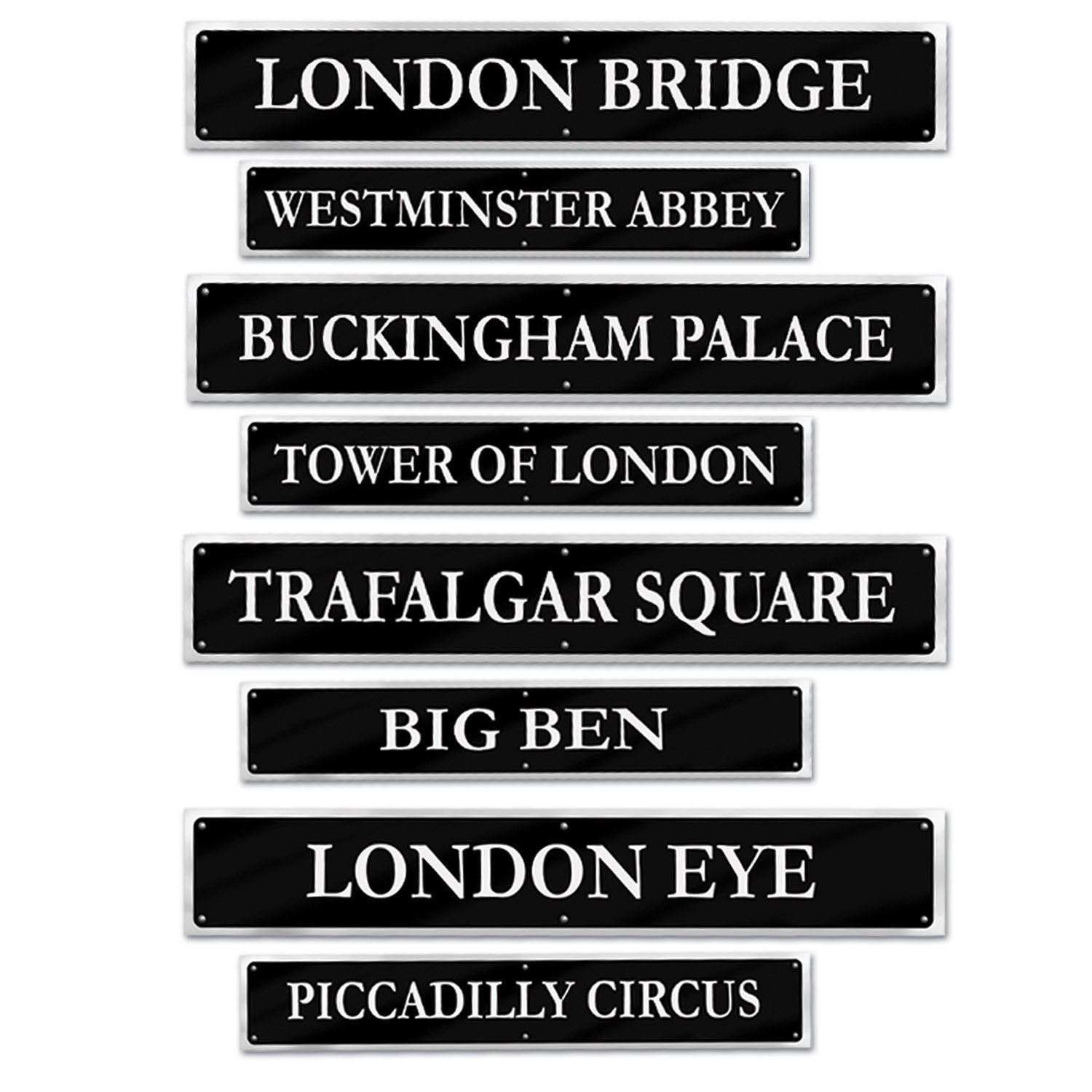 British Street Sign Cardboard Cutouts 10cm x 61cm 4pk - Party Savers