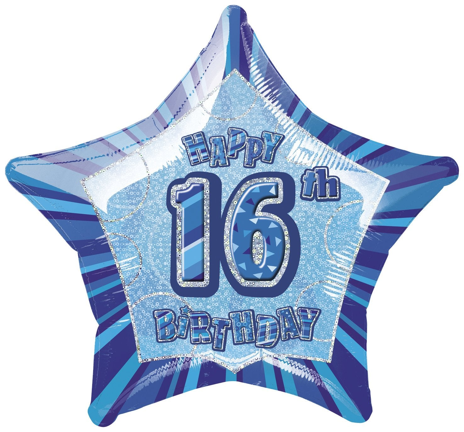 Blue Glitz 16th Birthday Star Foil Balloon 50cm