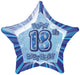 Blue Glitz 18th Birthday Star Foil Balloon 50cm