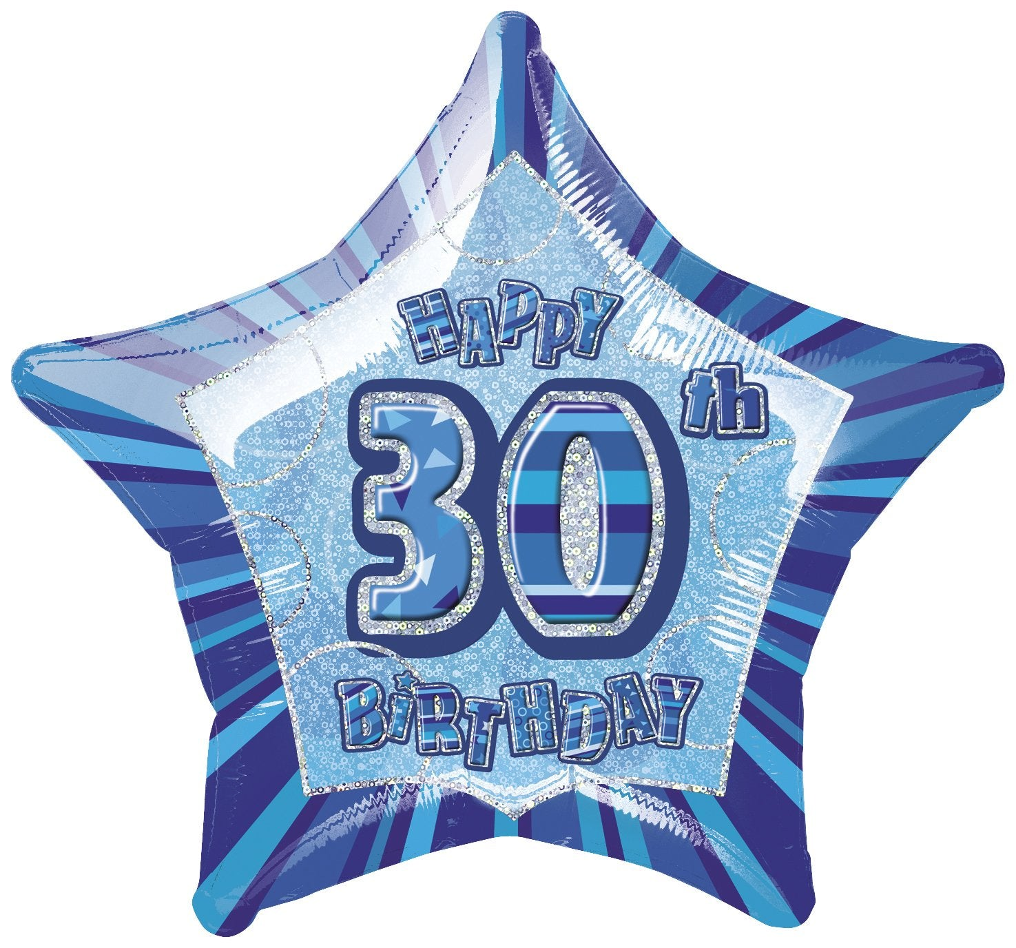 Blue Glitz 30th Birthday Star Foil Balloon 50cm