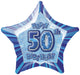 Blue Glitz 50th Birthday Star Foil Balloon 50cm
