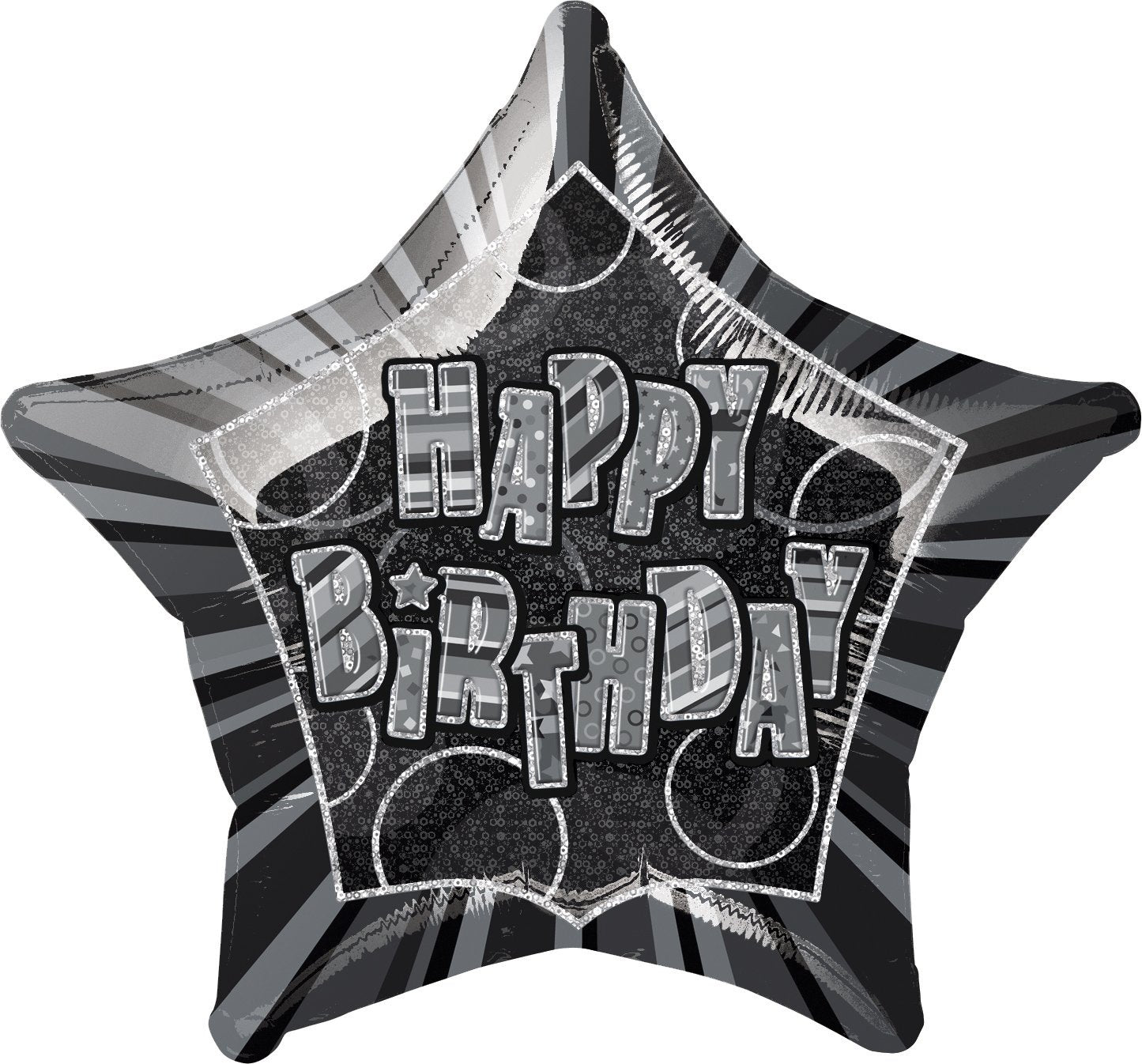 Black Glitz Happy Birthday Star Foil Balloon 50cm