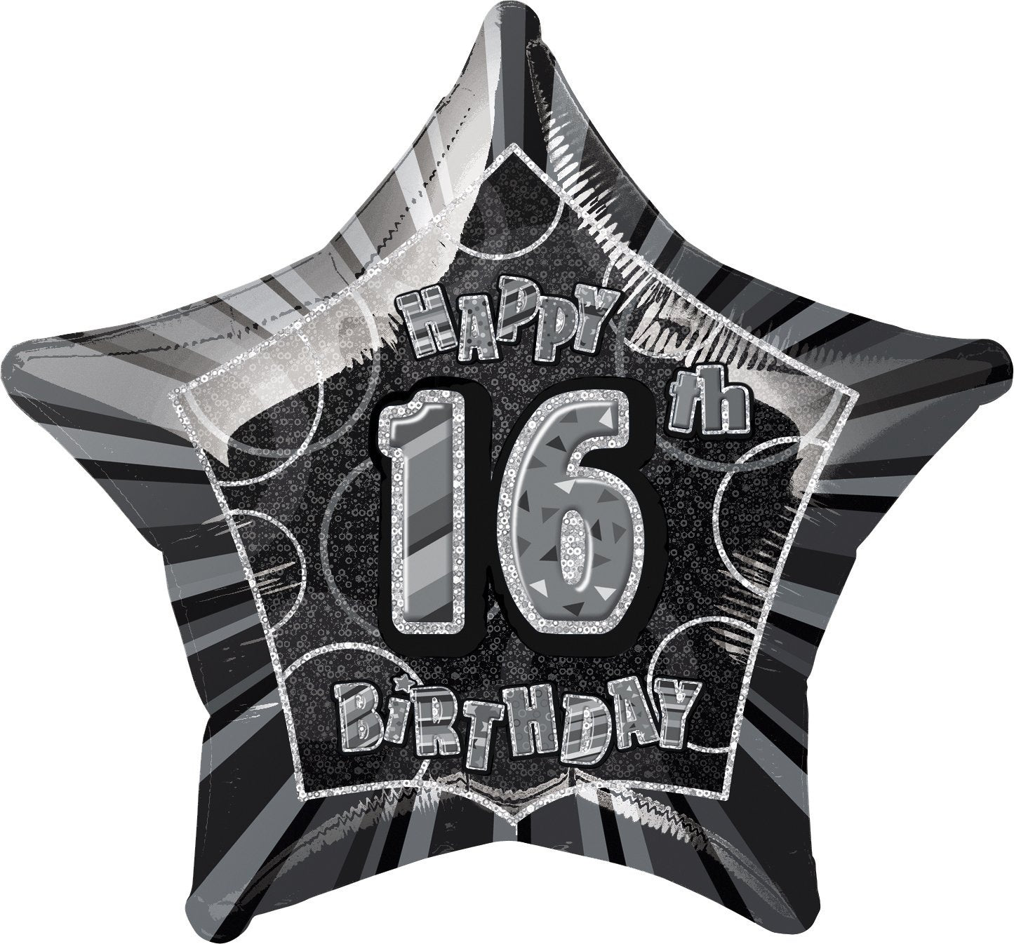 Black Glitz 16th Birthday Star Foil Balloon 50cm
