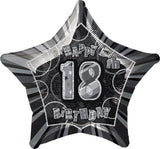 Black Glitz 18th Birthday Star Foil Balloon 50cm