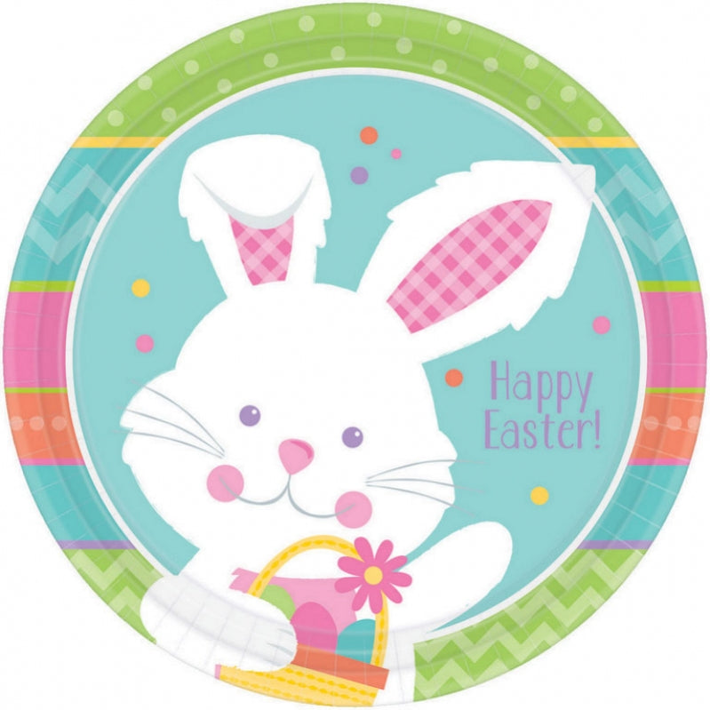 Hippity Hop Happy Easter Dinner Plates Paper 23cm 8pk - Party Savers