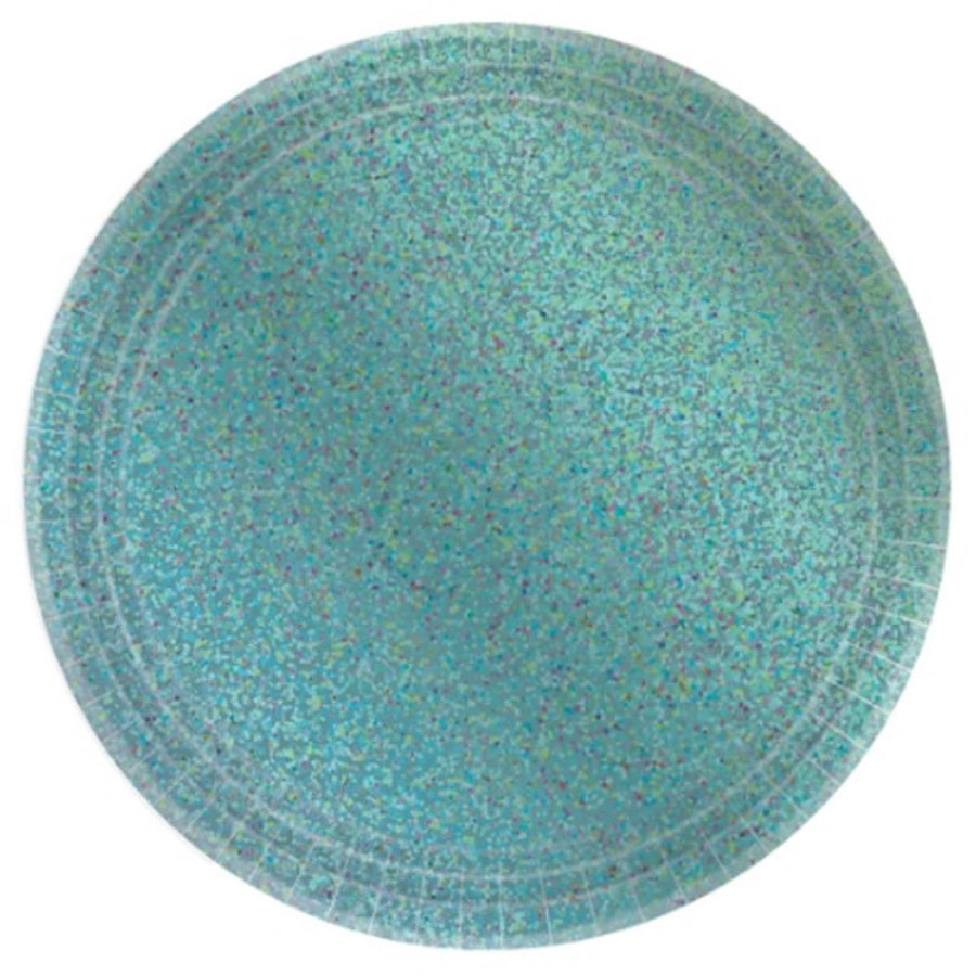 Prismatic Robin Egg Blue Round Plates 23cm  8pk - Party Savers