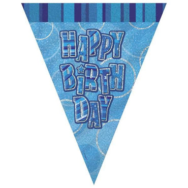 Blue Glitz Happy Birthday Flag Banner 3.65M