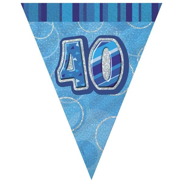 Blue Glitz 40th Flag Banner 3.65M