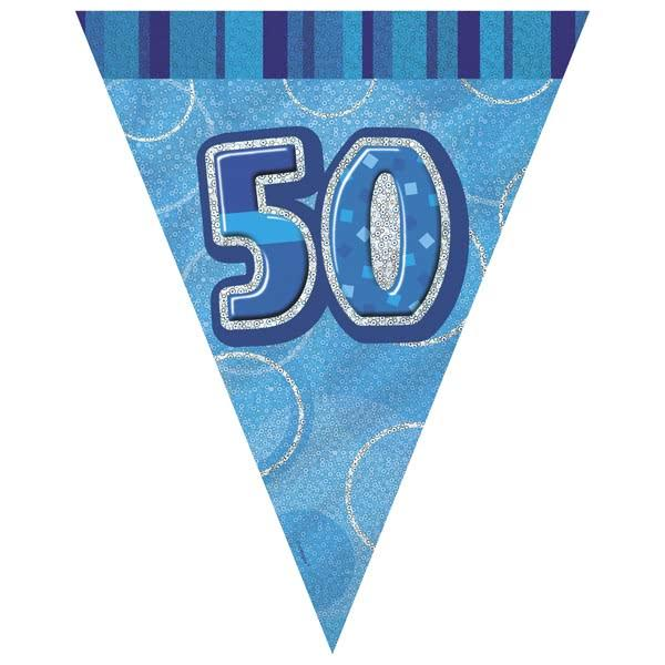 Blue Glitz 50th Flag Banner 3.65M