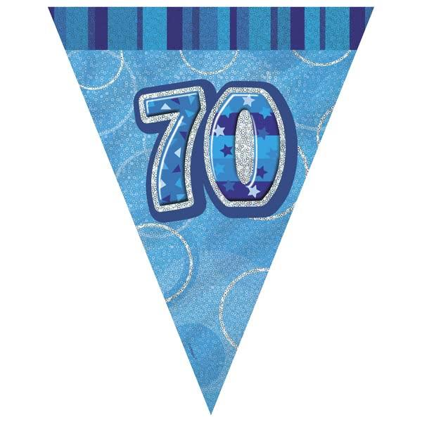 Blue Glitz 70th Flag Banner 3.65M