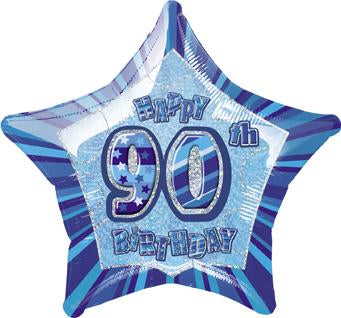Blue Glitz 90th Birthday Star Foil Balloon 50cm