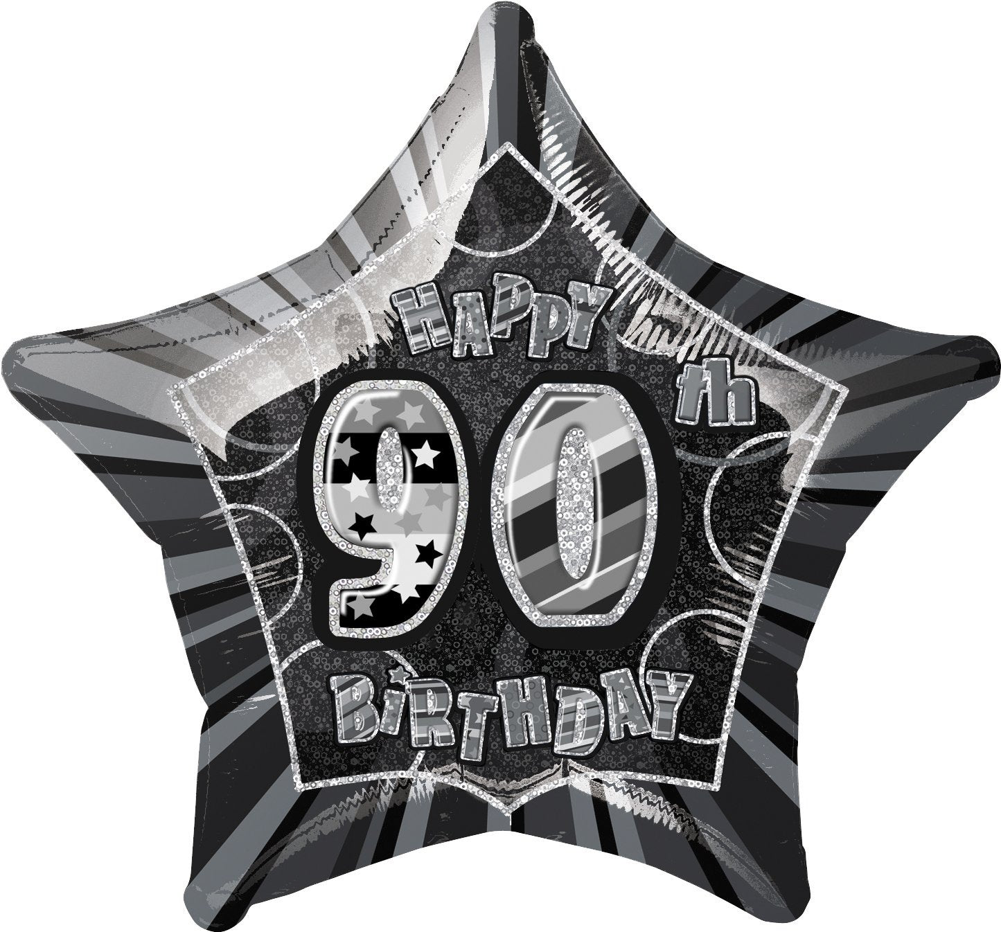 Black Glitz 90th Birthday Star Foil Balloon 50cm