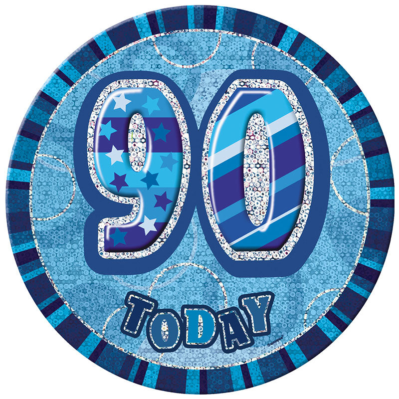 Blue Glitz Birthday Badge - 90 - Party Savers